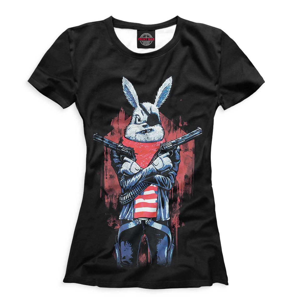 Женская футболка 3D Кролик с пистолетом